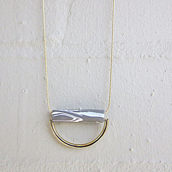 NL-227 Grey and White Marble Vein Pattern Polymer Clay Tube with Shiny Gold Plated Curved Tube Pendant in 16K Gold Plated Brass Chain