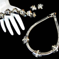 Art Deco Rhinestone Necklace Bracelet and Earrings Set Signed Coro in Silver Tone