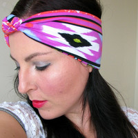 Turban Headband, tribal headband, stretchy knot headaband, wide boho headwrap