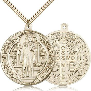 "Saint Benedict Medal For Men - Gold Filled Necklace On 24"" Chain - 30 Day Mon... 617759791273"