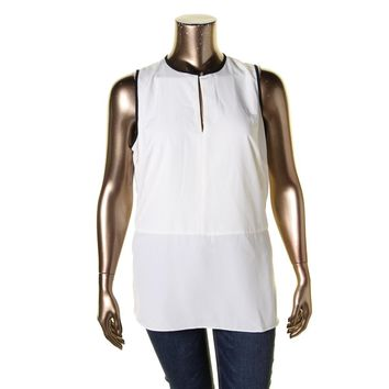 Lauren Ralph Lauren Womens Plus Contrast Trim Sleeveless Blouse