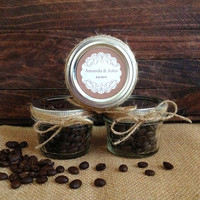 10x Rustic Wedding favors - personalized mason jars filled with coffee beans, wedding, bridal shower, tea part, baby shower favors