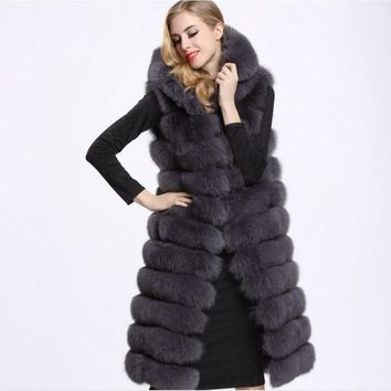 2018 Plus Size Winter Thick hooded Fake Fox Fur Vest 6XL 5XL 4XL 3XL Warm Stitching  Long thicker Faux Fur Coats