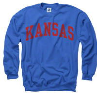 Kansas Jayhawks Royal Arch Crewneck Sweatshirt