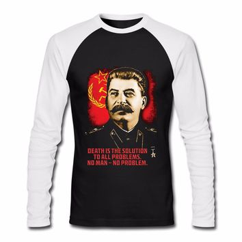 ALLIED NATIONS JOSEPH STALIN Russia Flag T-Shirt Unisex Men Women Long Sleeve Casuals Cotton Shirts Euro Size S-3XL