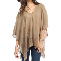 Taupe Mesh-Accent Sidetail Poncho