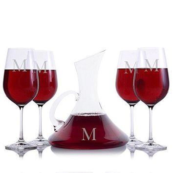 Personalized Crystalize Coltrane Handled Crystal Wine Decanter & 4 Stemmed Crystal Wine Glasses Engraved & Monogrammed - Wedding, Housewarming, Retirement Gift