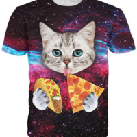 Taco and Pizza Galaxy Cat Tee