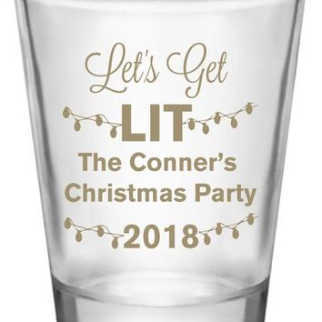 Personalized Christmas party shot glasses, lets get lit, funny holiday party favors