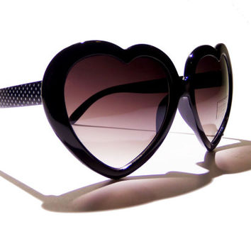 FREE SHIPPING, Black, womens, heart shaped sunglasses, lolita, vintage, retro, deadstock, heart, cute, sunglasses, glasses, shades, sunnies
