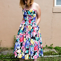 80's does 50's colorful cotton strapless dress with pockets, size 12