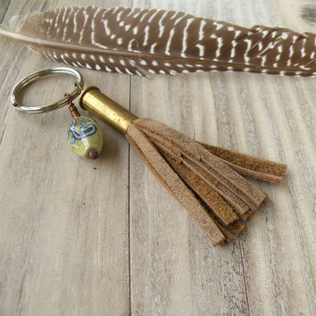 Bullet Tassel Keychain - LIght Brown Leather Tassel with Lampwork Glass Bead
