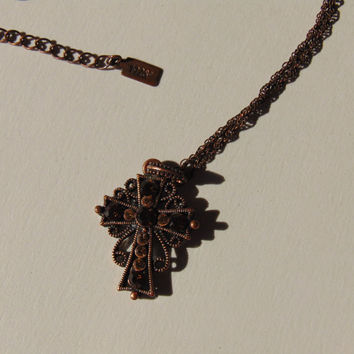 Signed 1928 Copper tone Cross Necklace with Rhinestone