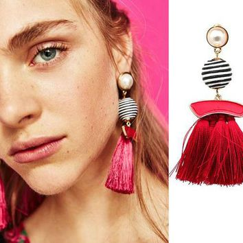 Pearl Ball Tassel Dangle Earrings