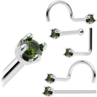 Solid 14KT White Gold (May) 1.5mm Genuine Green Diamond Nose Ring