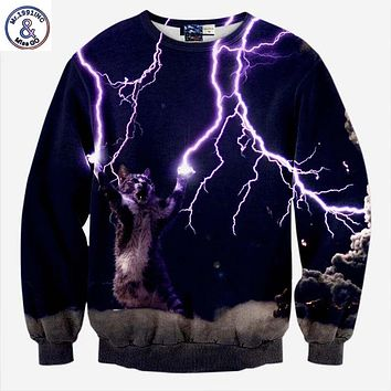 Mr.1991INC New Fashion Men/Women Hoodies Long Sleeve Fleece Sweatshirt 3d Print Cat Lightning Autumn Winter Jacket