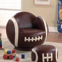 2pc Small Kid's Swivel Chair and Ottoman Set with Football Design