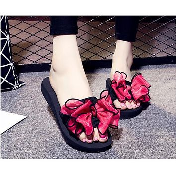Bow Thong Jelly Shoes Woman Jelly Flip Flops Women Sandals Ladies Flat Slippers Zapatos Mujer Sapatos Femininos b1