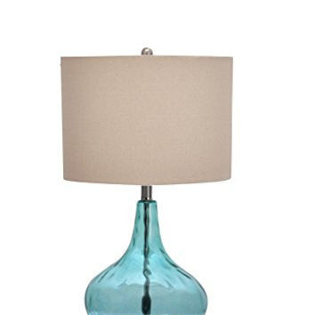 Catalina 18578-000 25 1/2-inch Teal Glass Gourd Table Lamp with Beige Linen Drum Shade, Brushed Nickel Base