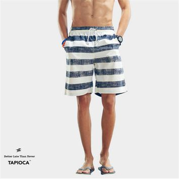 Plus size Mens Shorts Striped Board Shorts Summer Casual Beach Homme Bermuda Short Pants Quick Dry Silver Boardshorts A1659