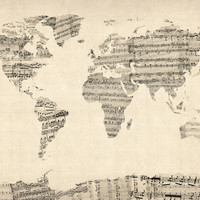 Old Sheet Music World Map Art Print by ArtPause
