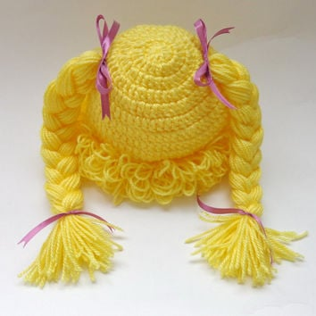 Yellow Cabbage Patch Kid Hat Inspired Crochet Wig In Brown Or Choose your color and size Braid Pigtail Style