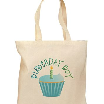 Birthday Boy - Candle Cupcake Grocery Tote Bag by TooLoud