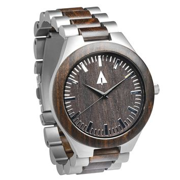 Stainless Steel Wood Watch // Silver Ebony Theo