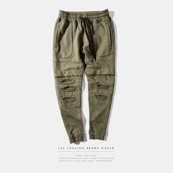 INFLATION Publish Men Running Jogging Sport Pants Ripped Sweatpants Joggers Cargo Harem Pants For Men