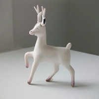 Vintage White Reindeer by allthingswhite on Etsy