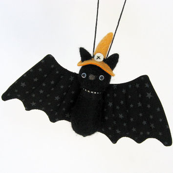 Halloween bat ornament : needle felted bat plush with orange witch hat