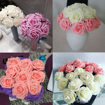 10 Heads Lot Rose Flowers Head Party Wedding Bridal Bouquet Decoration WHET