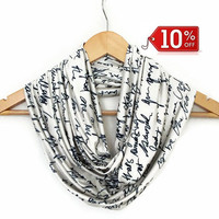 Letter Scarf, Jersey infinity Scarf, Book Scarf, Women Scarf, Men Scarf, Winter Trends