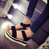 2015 Summer Women Shoes Flat Platform Sandals Gladiator Sandals Thick Bottom Casual Shoes Woman Wedges Sandalias Femininas