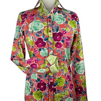CR Tradition Coral Floral Western Shirt