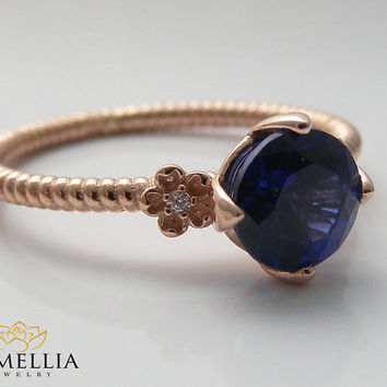 14K Rose Gold Cable Ring,Alternative Gemstone Engagement ring,Flower Rope Ring,Twisted Wedding Ring,Unique Engagment Ring,Blue Sapphire Ring