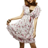 Lady Deep V Neck Flower Print Mini Dress White XS