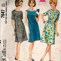 1960s McCall's 7647 Sewing Pattern Mad Men Style Retro Fashion Casual Day Dress A-line Dart Fitted Band Collar Bust 37