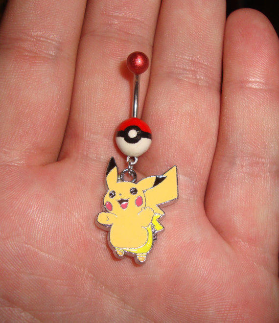 Pokeball Pikachu Belly Ring From Gamers4gamers On Etsy My