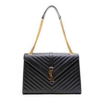 Classic Large Monogram Saint Laurent YSL Satchel in Black