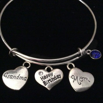 Happy Birthday Grandma Mom September Birthstone Silver Expandable Charm Bracelet Bangle Gift