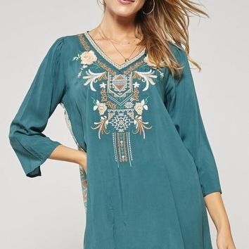 Teal Embroidered Paisley Blouse