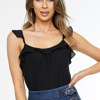 Breezey Ruffle Top - Black