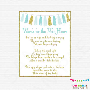 Words for Wee Hours, Blue Gold Baby Shower Games, Late Night Diapers, Diaper Message Game, Write on Booty Game, Printable Baby Shower TASBG