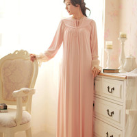 Free Shipping 100% Modal Princess Women's Nightgown Vintage Pijamas Long Sleepwear Cotton Nightshirt