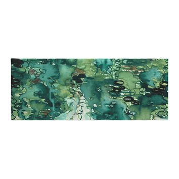 "Ebi Emporium ""Beauty In The Rain, Green"" Emerald Green Bed Runner"