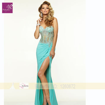 fashion sexy transparent  prom dresses with high slit sweetheart beaded long pegeant gown for evening party vestido de festa