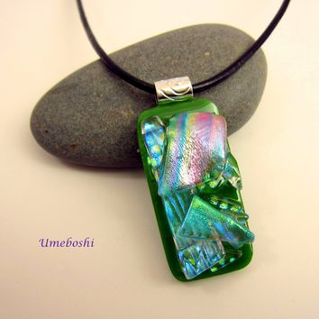 Shades of Spring Handmade Fused Dichroic Glass Jewelry Pendant - Green and Rainbow Colors