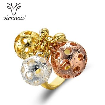 Viennois Multiple Balls Rings For Women Gold/Rose Gold/Silver Color Wide Rings Wedding Party Jewelry