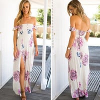 White Floral Print Slash Neck Backless Maxi Dress